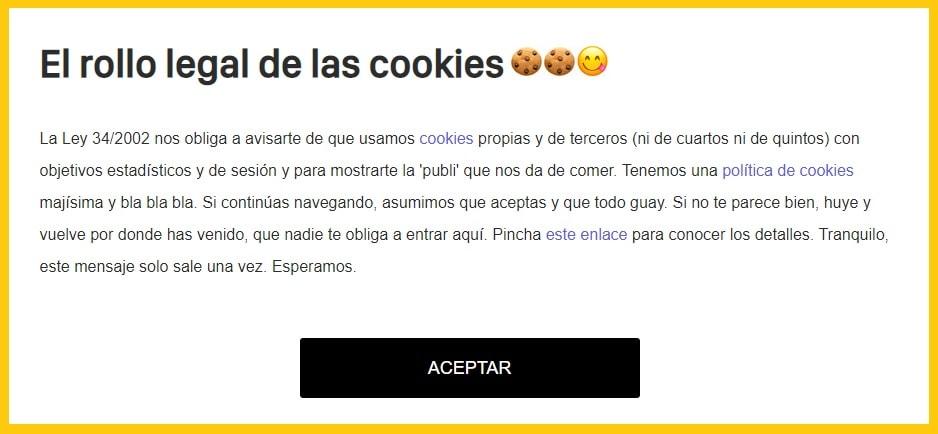 Microcopywriting del banner de cookies de la web de yorokobu.es